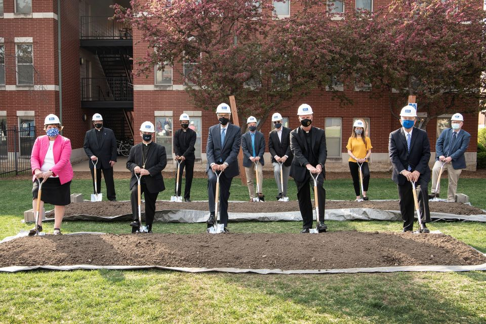 University leadership, construction partners and faith leaders from the Jesuit Central and Southern Province and the Archdiocese of St. Louis at the groundbreaking for the Jesuit Center. Photo by Steve Dolan.