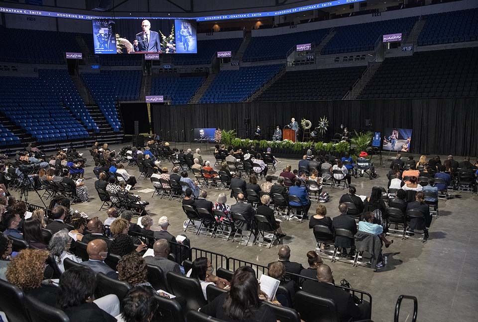 A memorial service for Jonathan C. Smith, Ph.D., was held Wednesday, June 30, at Chaifetz Arena. Photo by Steve Dolan.