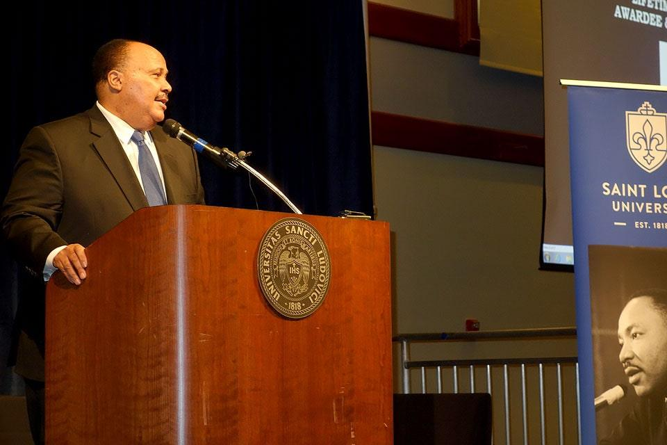 Martin Luther King III spoke of the need to continue his father's work.