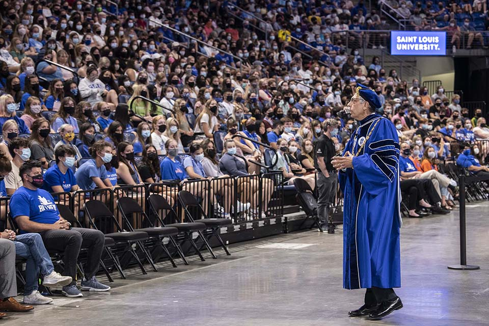 President Fred P. Pestello, Ph.D. speaks to the crowd at convocation. Photo by Steve Dolan.