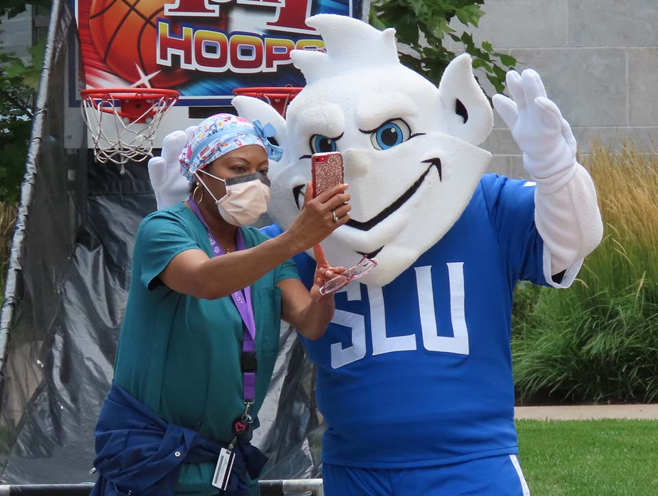 The Billiken showed up to the SSM Health Saint Louis University Hospital Wednesday, Sept. 1, to celebrate the one-year anniversary of the facility's grand opening.