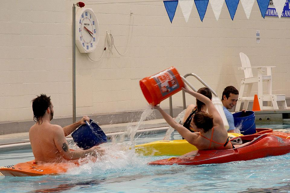 "Water warriors battle during ""Pool Battleship"" on Saturday, Feb. 16."