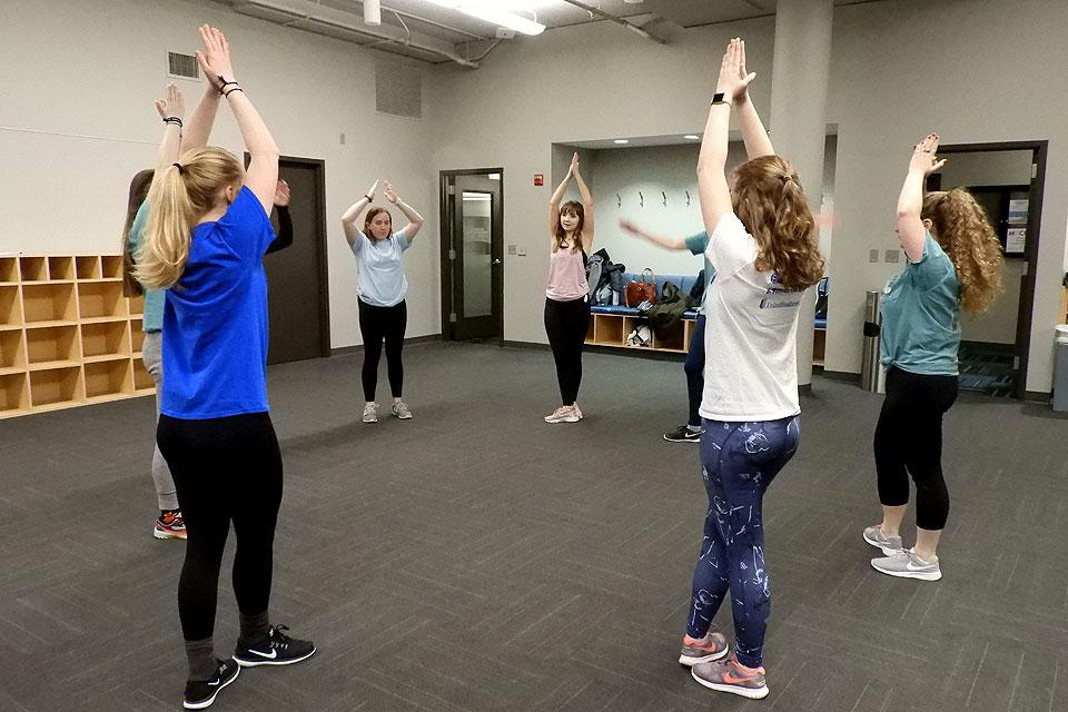 Elevation Irish Dance troupe members practice a routine.