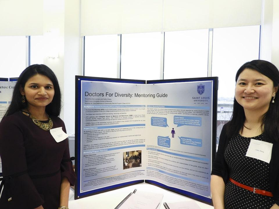 Pictured, from left, are Niveditha Manivannan and Cathy Zhang, the authors of the Doctors for Diversity mentoring guide. Photo by Maggie Rotermund