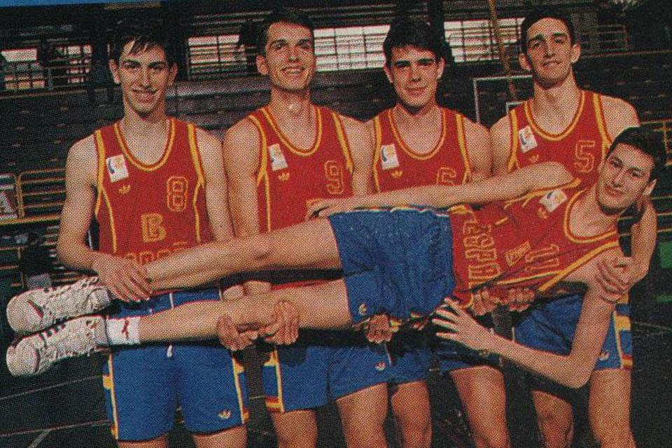 César Rioja Álvarez (second from left) clowns around with teammates on Spain's national basketball team. Rioja is now sports director at SLU-Madrid.
