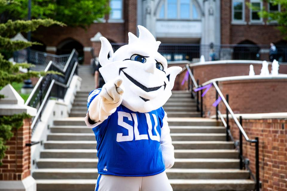 The Billiken in front of Cook Hall.