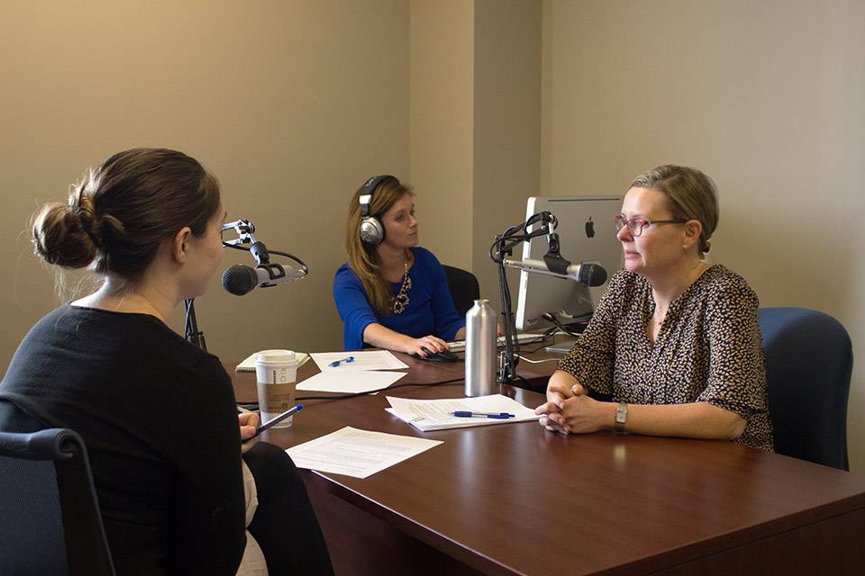 SLU LAW faculty during a podcast episode.
