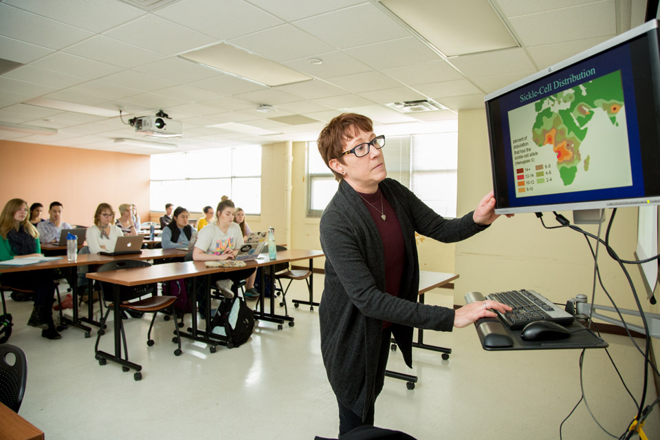Katherine MAcKinnon, Ph.D. teaches an anthorpology class.