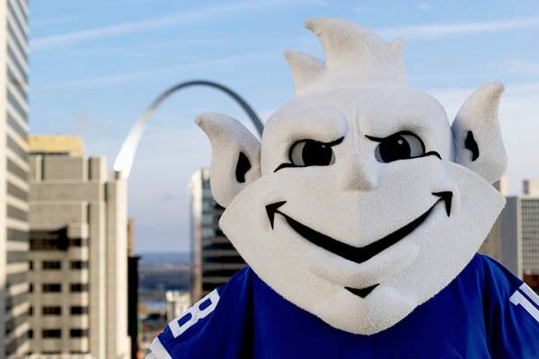 Saint Louis University Billiken in front of the Gateway Arch
