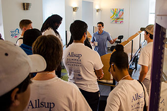 Allsup Entrepreneurship Academy students tour a start-up coworking space.