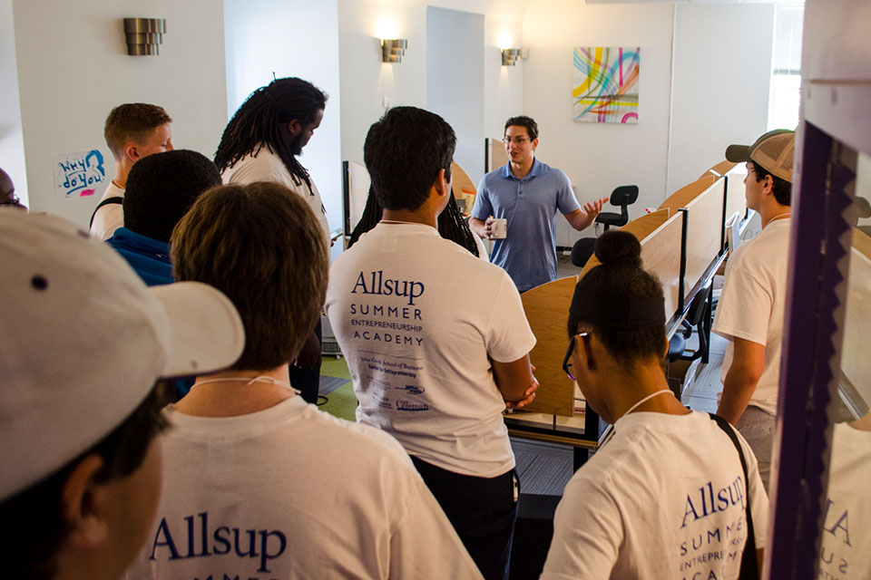 Allsup Entrepreneurship Academy particpants tour coworking space.