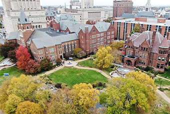 An aerial shot of SLU's North Campus in fall.