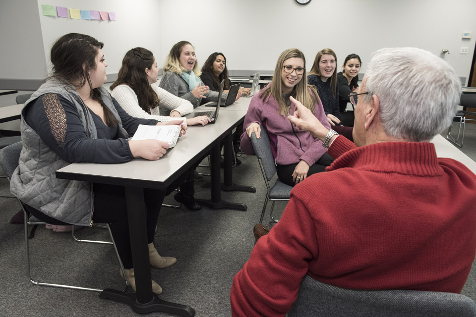 Students in classroom with adjunct instructor