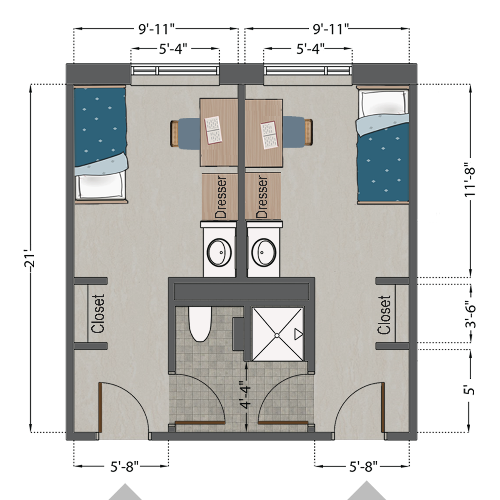 Single Semi-suite (2 person)