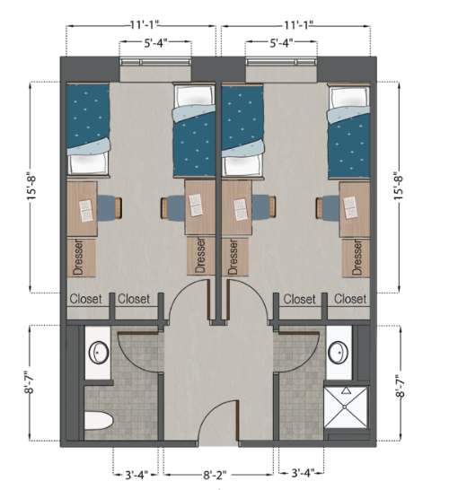 Double Semi-suite (4 person)