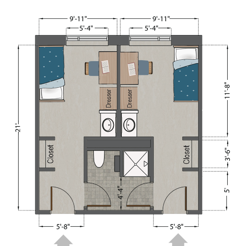 Fusz Hall Single Semi-Suite