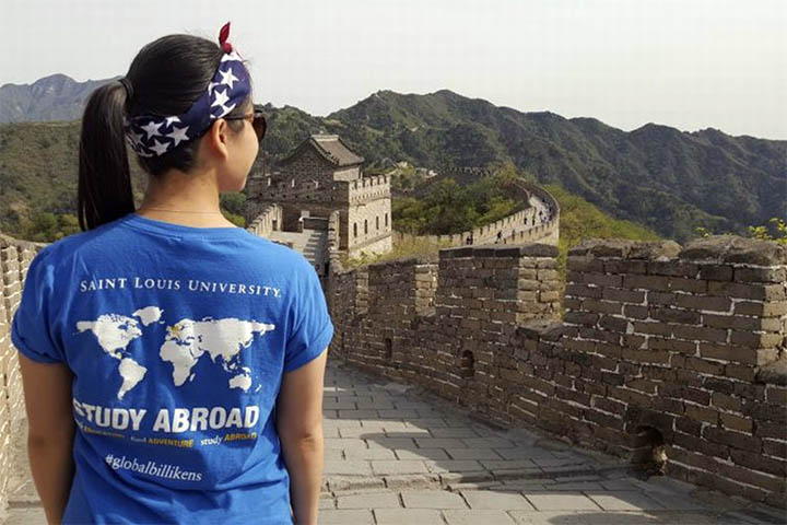 SLU student on the Great Wall of China