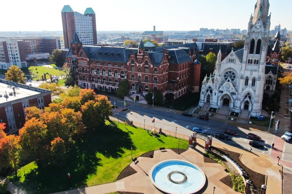 A birdseye view of campus: DuBourg Hall and College Church