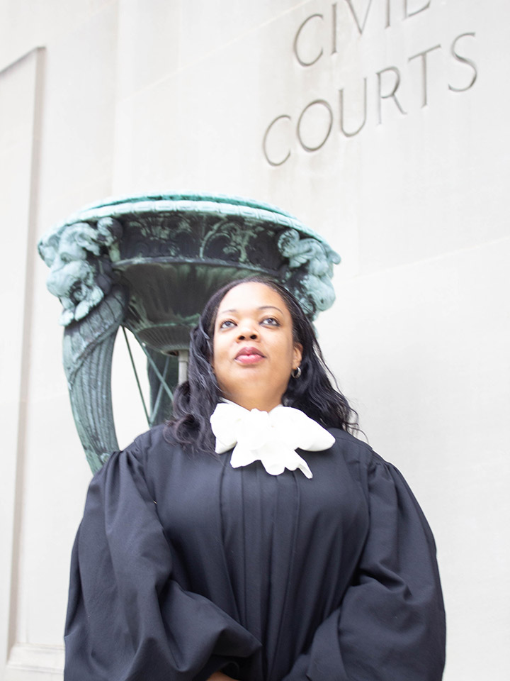 Nicole Colbert-Botchway outside her courthouse.