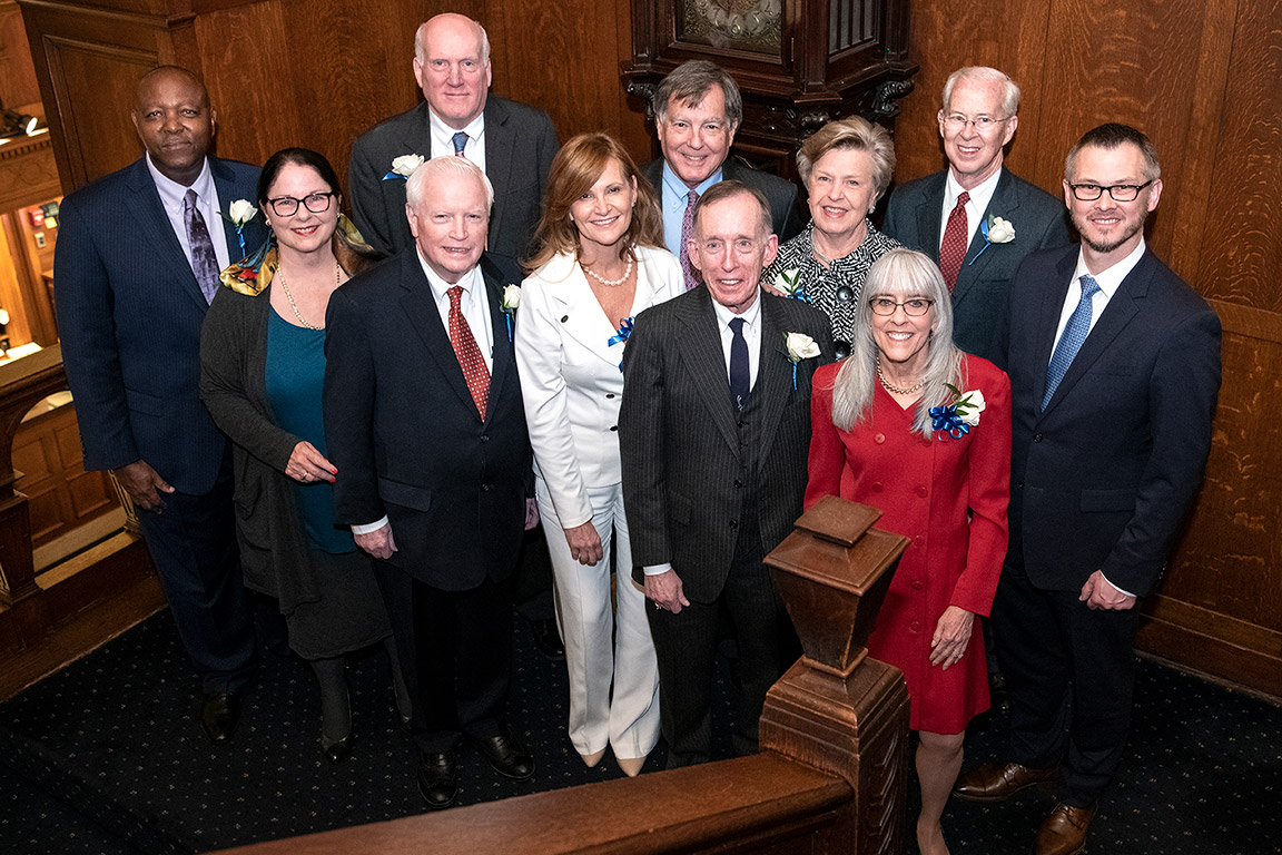 Saint Louis University School of Law Order of the Fleur de Lis 2020 Honorees pose with Dean William P. Johnson at the induction ceremony on Feb. 7, 2020. Photo by Steve Dolan