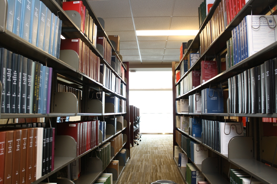 A view of the library books at Vincent C. Immel Law Library