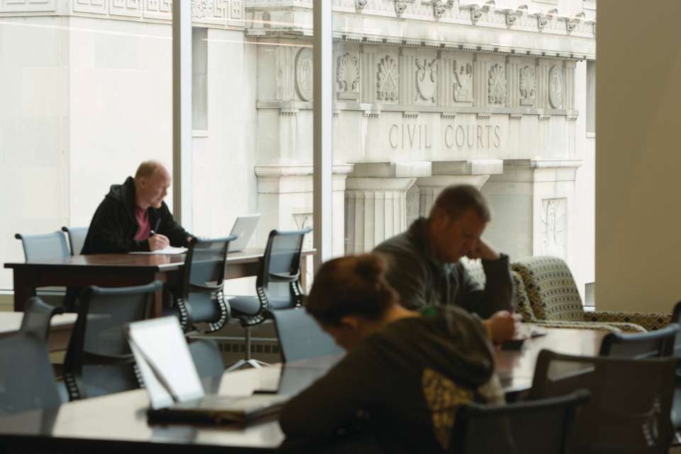 Law students study in the library at Scott Hall