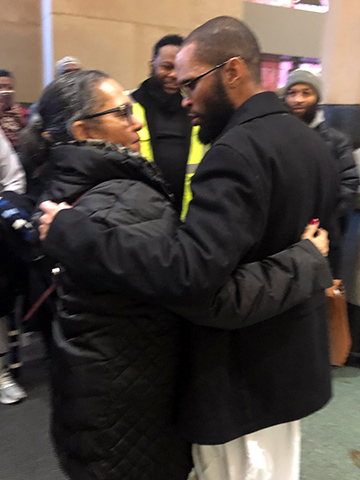Theo Wilson (right) pictured with his mother on the day of his release from prison. Photo submitted by Jennifer Merrigan