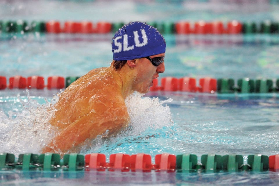 SLU swimmer in the Simon Rec pool