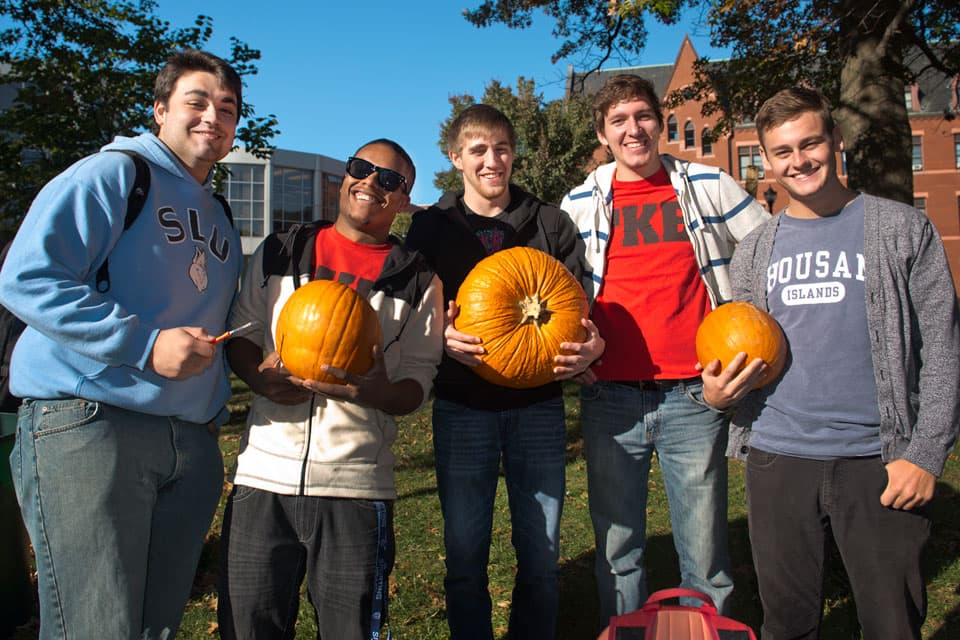 TKE fraternity members at their annual pumpkin fundraiser