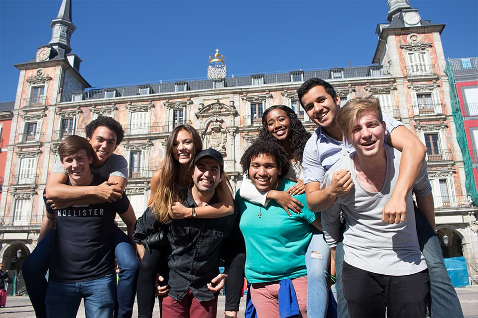 A group of SLU-Madrid students.