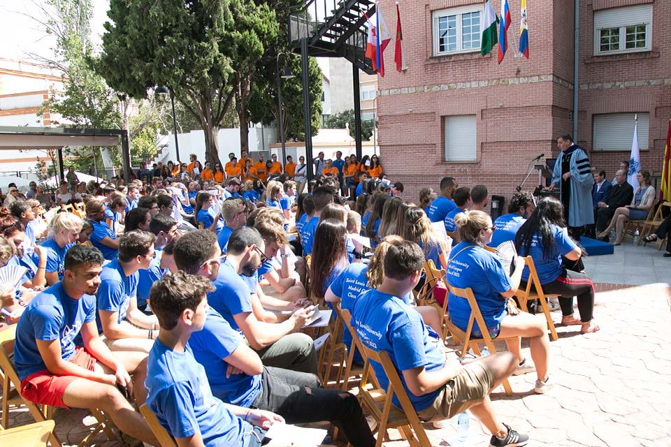 Students listen as Paul Vita, academic dean and director of the Madrid campus, speaks at Convocation.