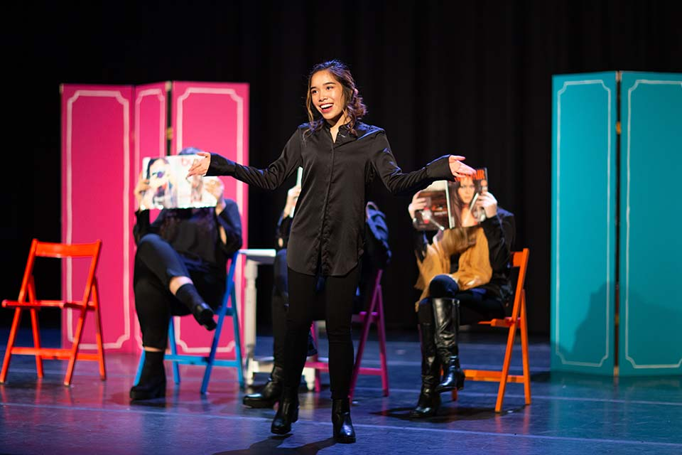 Nachelle Perez performs a monologue in Love, Loss and What I Wore.