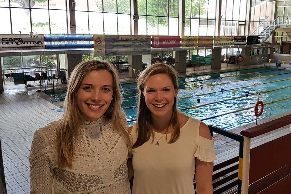 SLU's NCAA Division I swimmers Mary First and Olivia Wanasek study abroad at SLU-Madrid and train at one of Spain's top water sports training facilities, Real Canoe C. N.