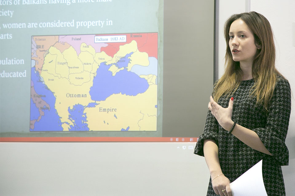SLU-Madrid student Jona Bojdani speaks on women in science in the Balkan region.