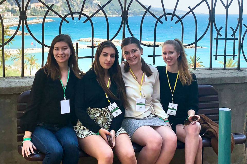During a break between committee sessions, SLU-Madrid Model UN delegates (from left) Monica Carroll, Arcadia Wisnik, Natalie Eriksen and Addie Knight pause for a photo at scenic overlook along the French Riviera.