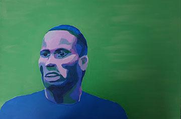 Analogous colors portrait of the soccer player, Drogba by Lapo Stefanelli
