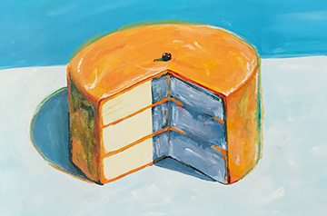 "Olivia Leroy, a visiting student from Marquette University, painted ""Lemon Cake,"" an interpretation of Wayne Thiebaud's ""Lemon Cake."""
