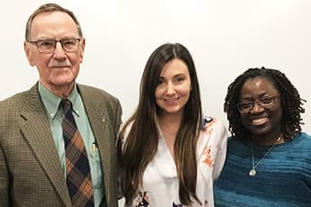 Elissa Arnold, center, a third-year student at Saint Louis University School of Medicine