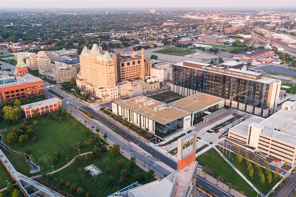 Aerial view of Saint Louis Univeristy hospital