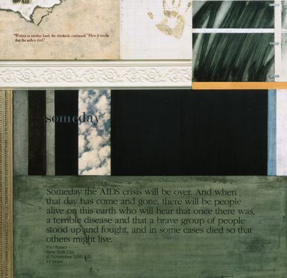 Robert Farber, Western Blot #19 (detail), 1990. Mixed media on wood panels. Courtesy of the Robert D. Farber Foundation.