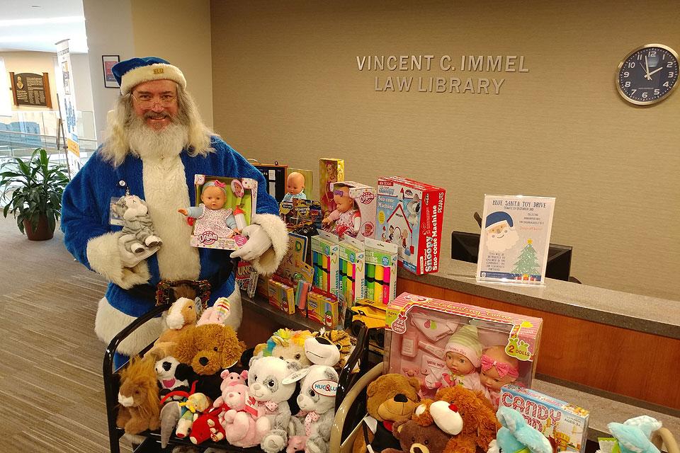 Blue Santa visits the Law School in 2019.