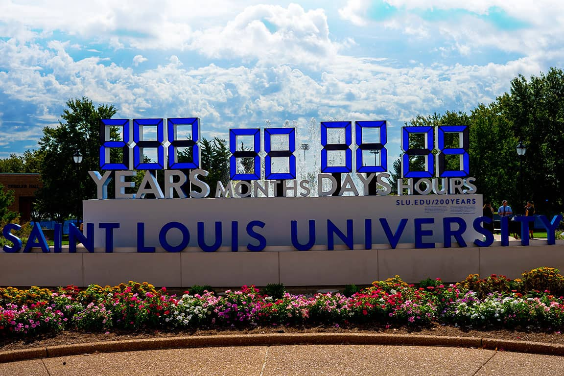 Saint Louis University's 200-Years-in-One service clock reached its goal of 200 years or 1.7 million hours of service on Friday, Oct. 5. The milestone comes 5 weeks ahead of the clock's termination date.