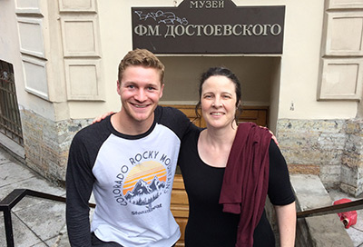 Carter and Blake pose outside the Dostoevsky Museum in St. Petersburg, where they met by chance.