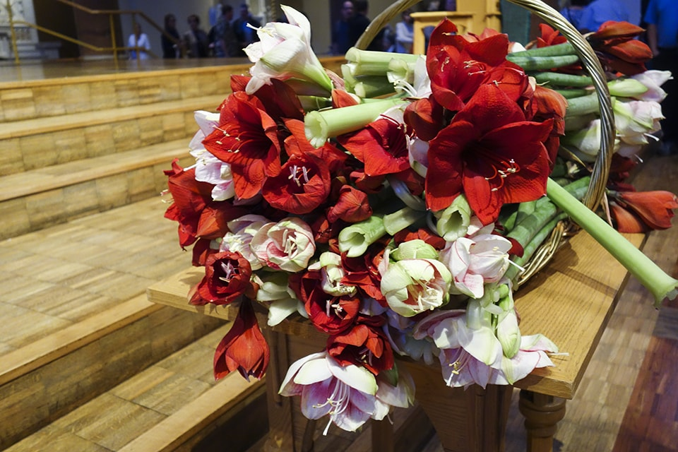 Flowers on the altar.