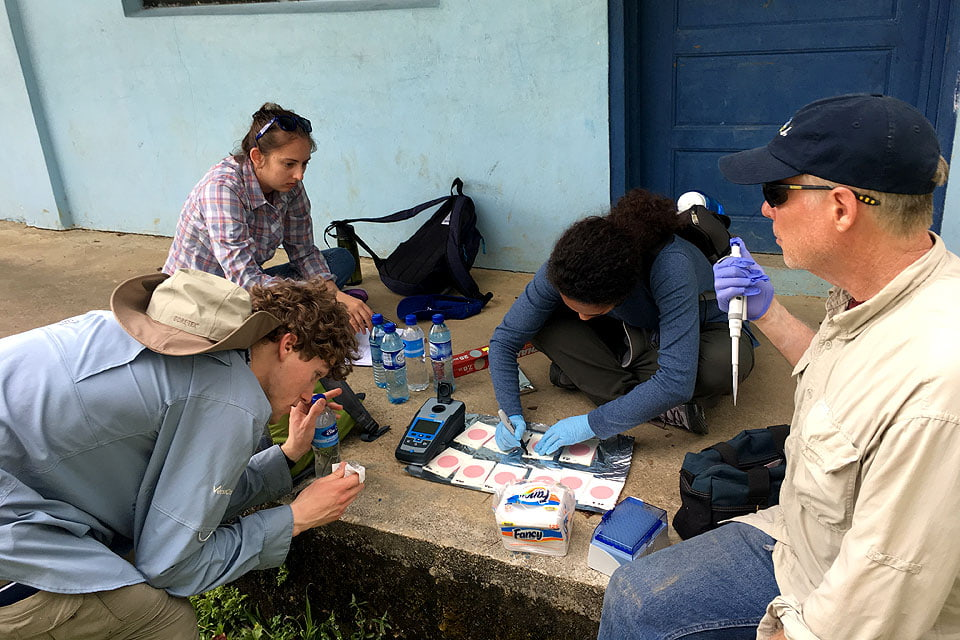Students test water samples in Belize