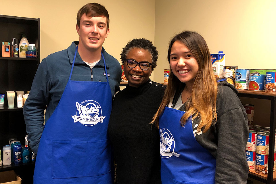 Mona Hicks, Ed.D., and Billiken Bounty volunteers