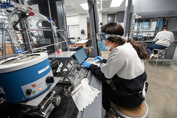 Christy Bagwill, Ph.D., works in SLU's organic chemistry lab in the Department of Chemistry.