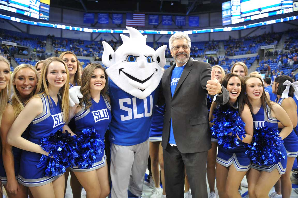 The new Billiken mascot was revealed during a basketball game at Chaifetz Arena.