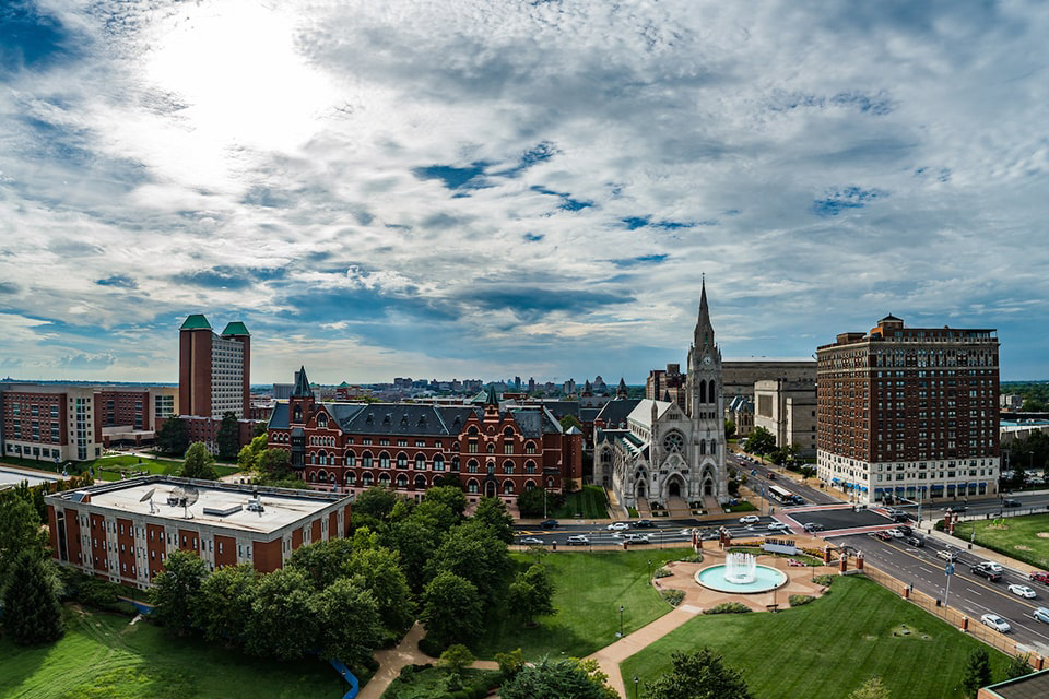 An aerial shot of SLU's north campus.