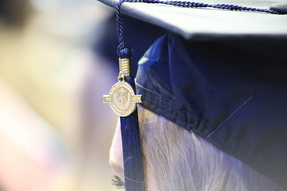 A photo of a commencement cap.